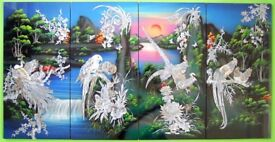 VIETNAMESE / CHINESE LACQUER & MOTHER OF PEARL INLAY PAINTINGS SET OF 4 PANELS