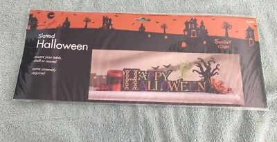 Spooky Town Slotted Halliween Accent For Table Shelf Or Mantel