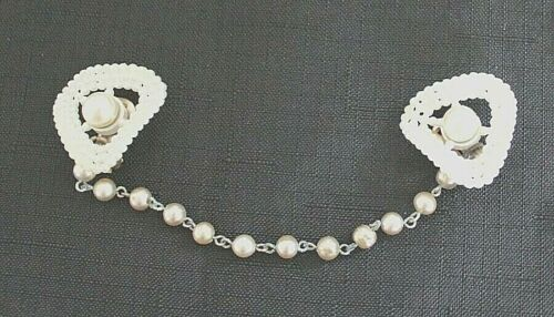 Vintage White Faux Pearl Sweater Guard with Pearl Chain Clip Back