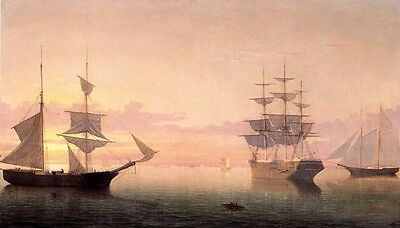 Nice Oil painting Fitz Hugh Lane - Ships at Sunrise big sail boats on ocean 36""