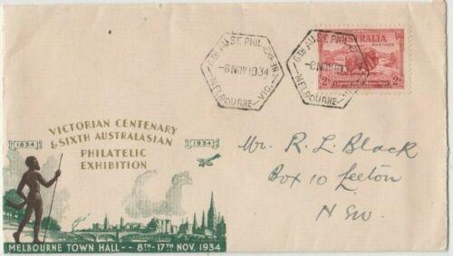 Stamp 2d sheep 1934 Melbourne Victoria Centenary souvenir cover & postmark