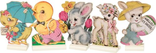 PBK Retro Vintage Style Easter Stand Up Set of 5 Bunny Chick 4.5 inch Tall