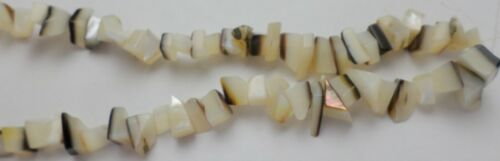 """14"""" Strand White Mother Pearl Black & White Gemstone Thick Chips Beads 8-15mm"""