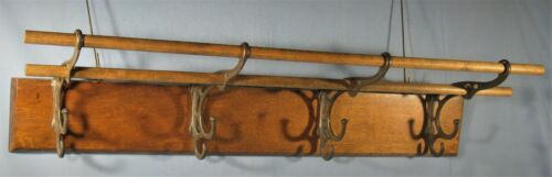 "ANTIQUE WOOD WALL HUNG HAT/COAT/CAP RACK w/4- 2-STEP HOOKS 2-RODS CA 1900 24""L"