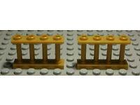 Lego City Zaun Geländer 1x4x2 Gold 2 Stück 1022