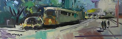 JOSE TRUJILLO ORIGINAL OIL PAINTING IMPRESSIONIST CITY DOWNTOWN FIGURES 12X36