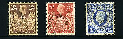 Great Britain, Scott #249-50 & 251A, George VI, Used, 1939-42