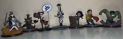 Q-FIG Lot Marvel And DC( 7): Deadpool, Harley Quinn, Spider-Man, Dr And More