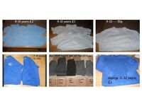 school uniform trousers £1 a pair polo shirts (9-10 more 7-8) jumpers 7-8 and 11-12