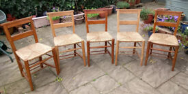 FIVE OLD CHAPEL CHAIRS