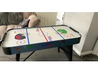 Power puck foldable air hockey table