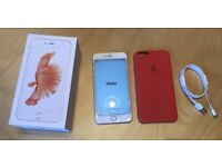 Unlocked iPhone 6S Plus 128GB with Apple case and Box and new charging cable