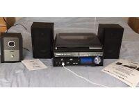 Steepletone 'Memphis' stereo music system, plays vinyl,CD, SD card, USB, radio, w/subwoofer.