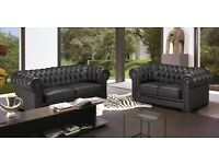 REAL LEATHER CHESTERFIELDS 3+2 SOFA SET BRAND NEW