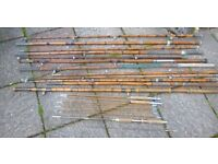 old fishing rods mixed lot