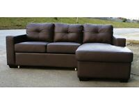 New brown leather sofa-bed.