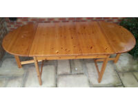 Solid Pine Table, drop leaf, large, great condition
