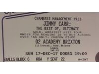 £67.15 for 2 x JIMMY CARR TICKETS SUNDAY 17TH DECEMBER 2017 AT 02 ACADEMY BRIXTON