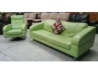 Funky lime colour sofa & swivel chair In Vgc can deliver 07808222995