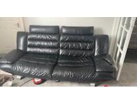 Black leather modern suite
