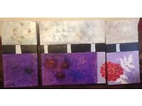 Bespoke Locally Commissioned Set of 3 Oil painted canvases with raised effect.