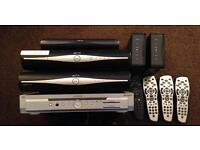 Job lot of sky boxes and remotes