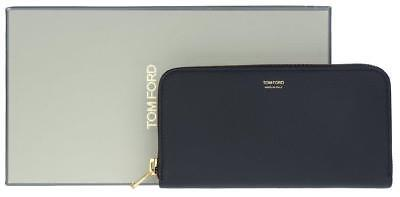NEW TOM FORD BLACK GRAIN LEATHER ZIP AROUND LONG BREAST POCKET CLUTCH WALLET