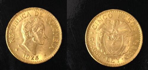 COLOMBIA STELLAR  GEM BU 1925  A CLASSIC COIN .2354 .AGW 5 gold Pesos Bolivar