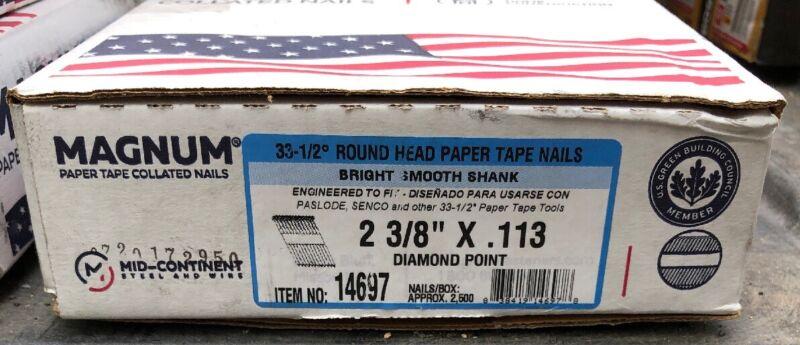 "Magnum Fasteners 14697 2-3/8"" x .113 Round Head Bright Smooth Shank Nails (2500)"