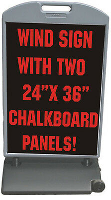 53 X 29 Wind Frame Sandwich Board Sidewalk Sign 2- 24 X 36 Chalkboard Panels