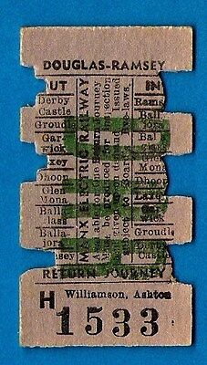 Railway Ticket ~ Manx Electric Railway - Douglas to Ramsey Return - Isle of Man