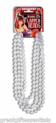 Flapper Costume Accessories (ROARING 20s FLAPPER BEADS PEARL NECKLACE WHITE 1920s Gatsby Costume)