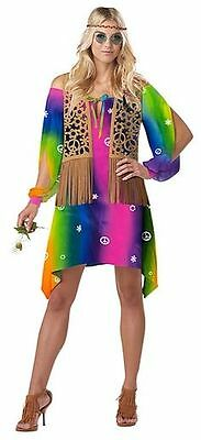 Free Spirit Hippie 60's Sixties Costume Adult Women Size Medium 8-14