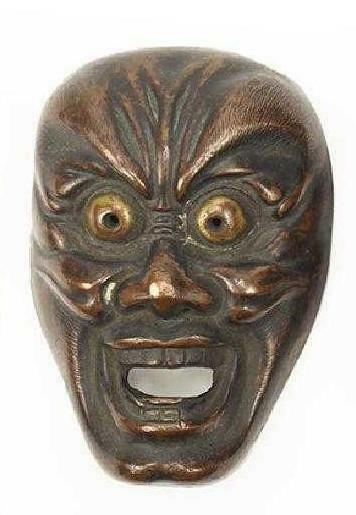 Fine Japanese Metal Mask, Meiji Period.