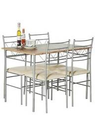 Oak Effect Dining Table And 4 Cream Chairs