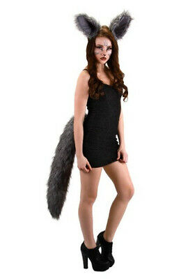 DELUXE OVERSIZED BIG WOLF GREY WEREWOLF WOLFMAN ANIMAL COSTUME TAIL ADULT LONG - Wolf Tail Costume