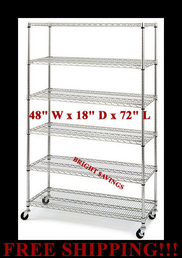 """COMMERCIAL METAL STEEL ROLLING STORAGE SHELVING RACK CHROME WIRE SHELF 3"""" CASTER"""