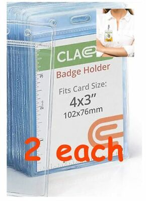 2 Each Vertical Large Id Badge Vaccination Record Holder 4 X 3