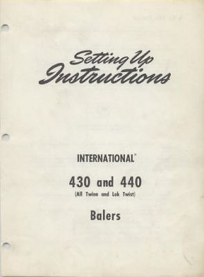 International 430 440 Baler Ihc Ih Manual Setting Up Instructions Assembly