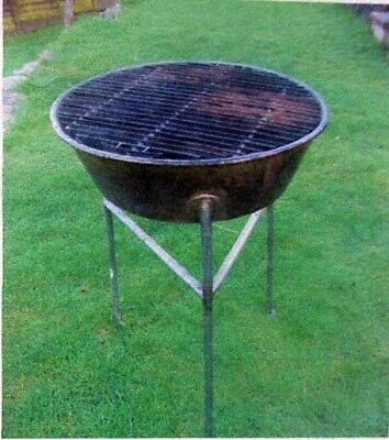 Stainless steel barbecue, tripod frame, solidly built.