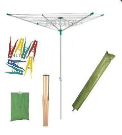45m Rotary Clothes Airer Dryer + pegs/ peg bag +cover washing line