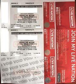 2 x Tickets Depeche Mode 03/06/2017 Queen Elizabeth Olympic Park - Standing