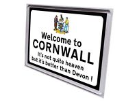 Fridge magnet road sign Welcome to Cornwall