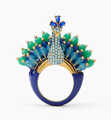 NWT KATE SPADE Size 7 Full Plume Peacock Bird Blue Green Gold Cocktail Ring