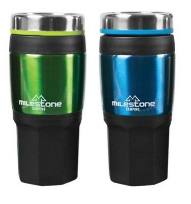 2 PACK 450ML THERMAL DOUBLE WALLED INSULATED DRINKS TRAVEL MUG - BPA FREE