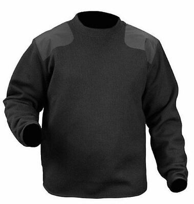 Men's ~BLAUER Fleece-Lined Crew Neck Police Commando Black Sweater~ Small - NEW