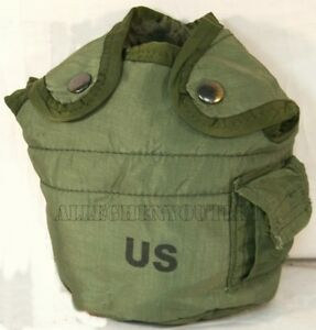 USGI-Military-Army-1-QUART-CANTEEN-COVER-POUCH-1QT-OD-LC-2-w-ALICE-CLIPS-VGC