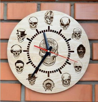 Wall Clocks Home Silent Decorative Wooden Engraved Indoor Gift Rustic Country