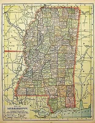 1902  MISSISSIPPI antique  color state map original authentic