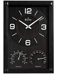 Bulova Concept Wall Clock with Thermometer and Hygrometer